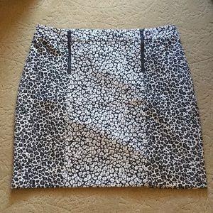 Black and White Animal Print Ann Taylor Mini Skirt